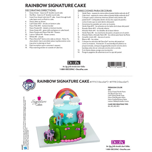 My Little Pony™ Over the Rainbow Cake Decorating Instruction Card