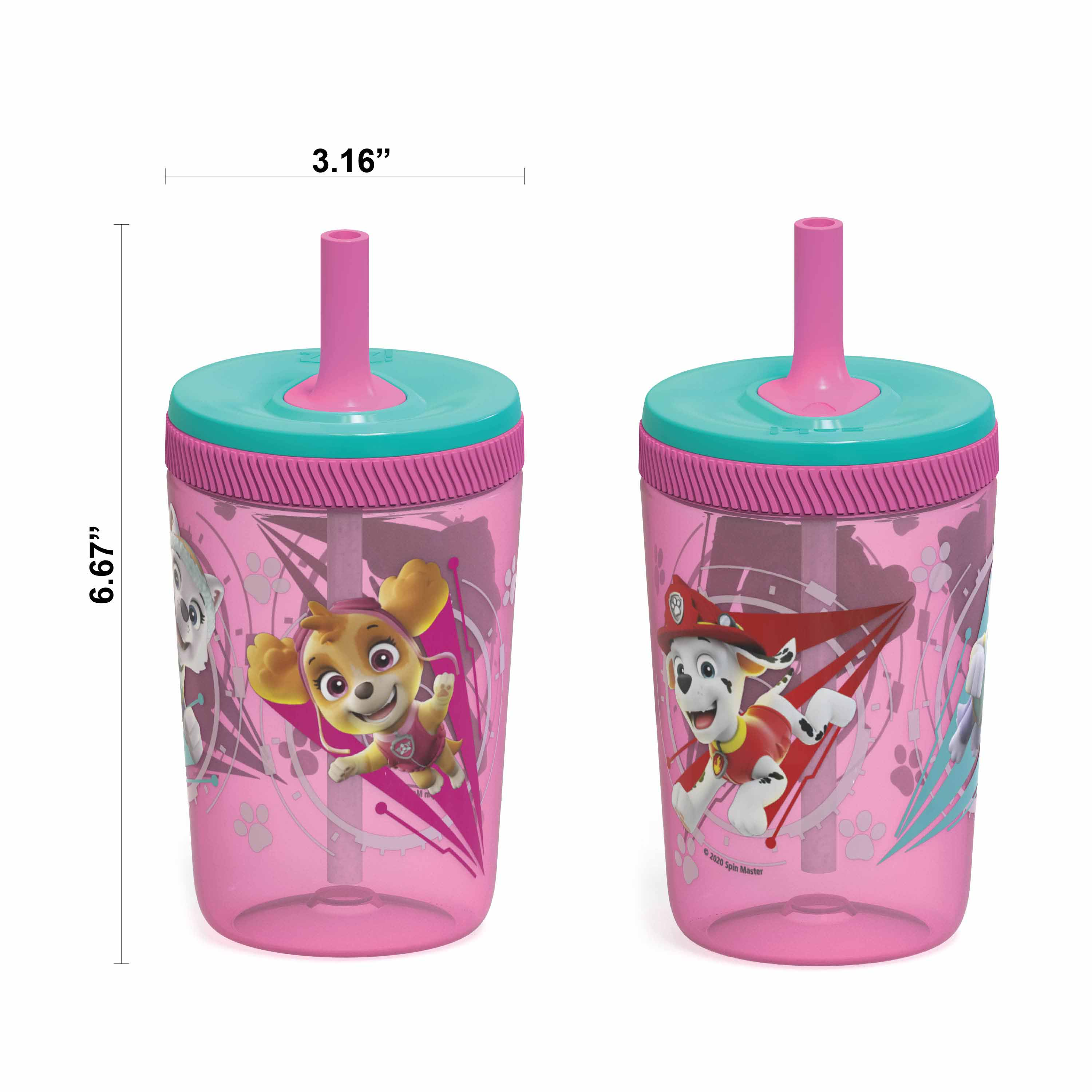 Paw Patrol 15  ounce Plastic Tumbler with Lid and Straw, Marshall and Skye, 2-piece set slideshow image 6