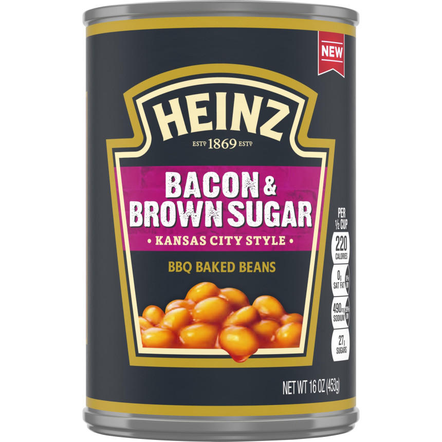 Heinz Kansas City Style Bacon & Brown Sugar BBQ Baked Beans, 16 oz Can image