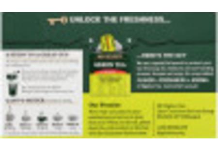 Back panel of Green Tea with Mango tea box