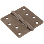"Hardware Essentials 1/4"" Round Corner Pewter Door Hinges (4"")"