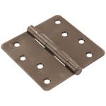 "Hardware Essentials 1/4"" Round Corner Pewter Door Hinges (4"")"