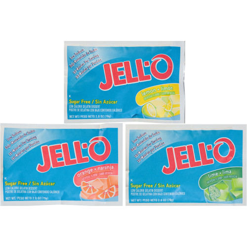 JELL-O Sugar-Free Citrus Dry Gelatin Mix (Assortment of Orange, Lime, Lemon), 2.75 oz. Pouches (Pack of 18)