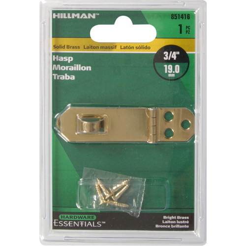 Hardware Essentials Solid Brass/Bright Brass Decorative Hasps 3/4