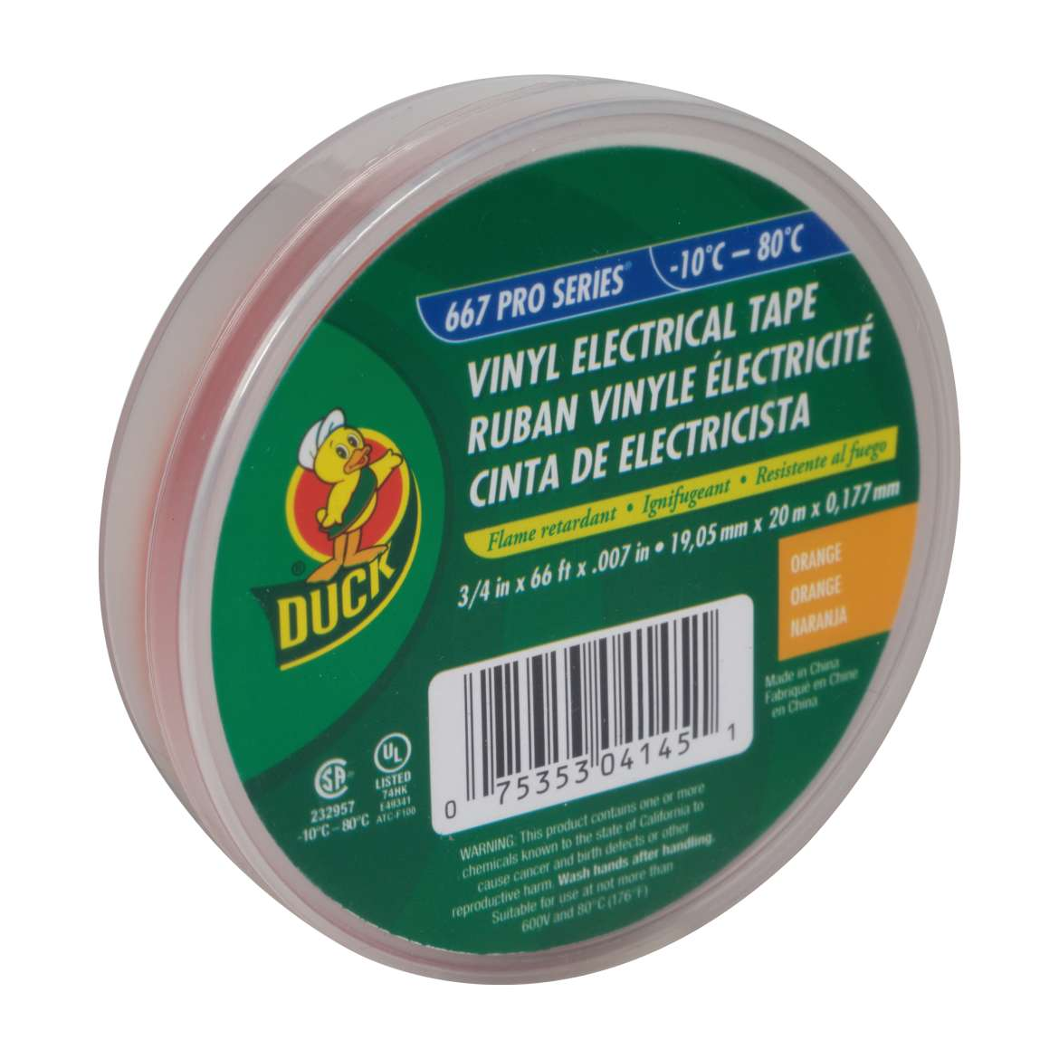 Duck® Brand Professional Electrical Tape Canister Pack - Orange, .75 in. x 66 ft. x 7 mil. Image
