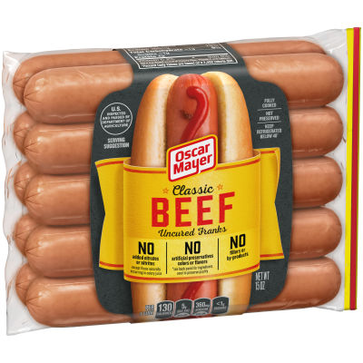 Oscar Mayer Classic Beef Uncured Franks 10 count Pack
