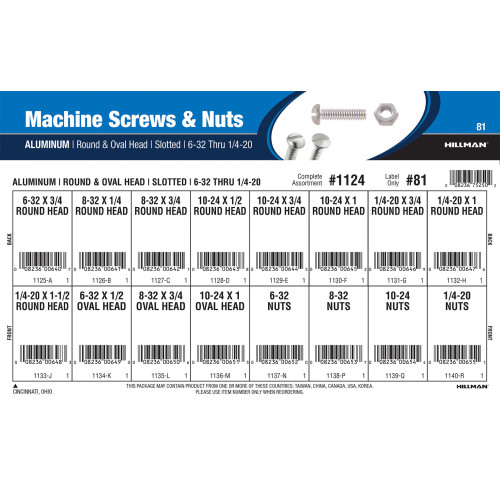 Aluminum Machine Screws and Nuts Assortment (#6-32 thru 1/4