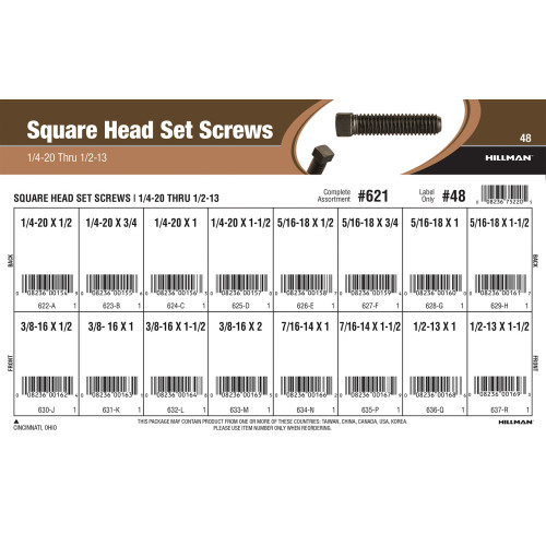 Square-head Set Screws Assortment (1/4