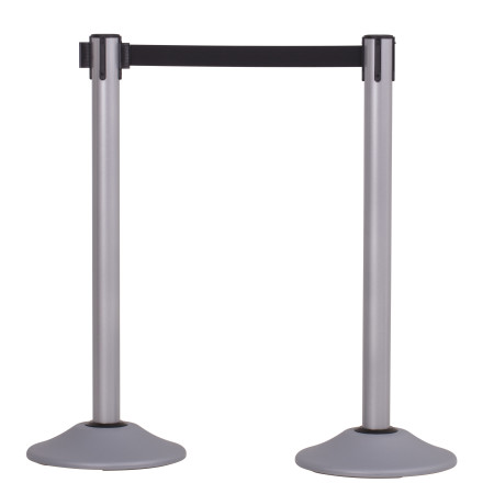 Premium Steel Stanchion with Extended Belt - Silver 1