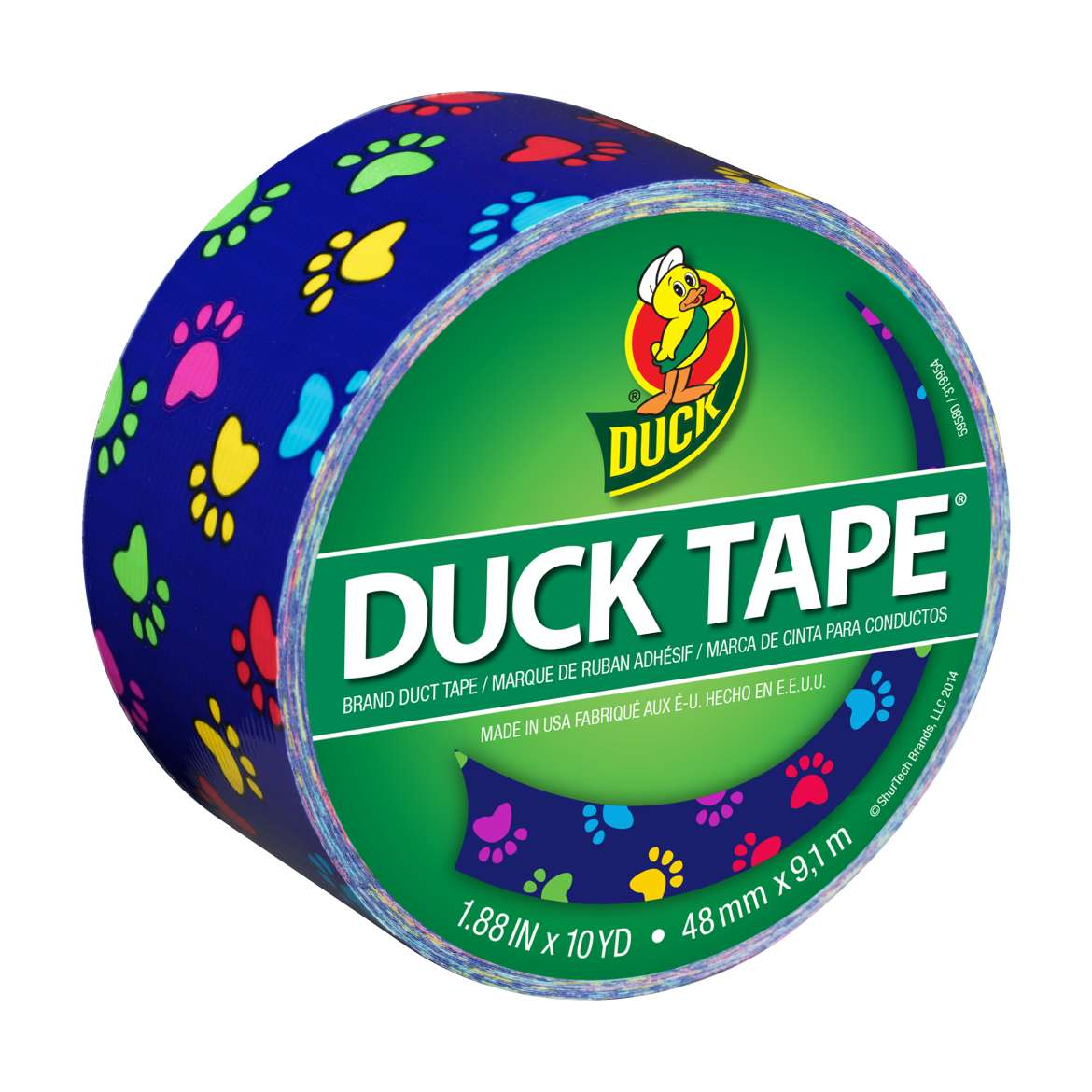 Printed Duck Tape® Brand Duct Tape - Colorful Paws, 1.88 in. x 10 yd. Image