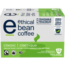 Ethical Bean Classic Medium Roast Coffee Keurig K-Cup Pods - Organic - Fairtrade Certified, 132g, 12 Pods