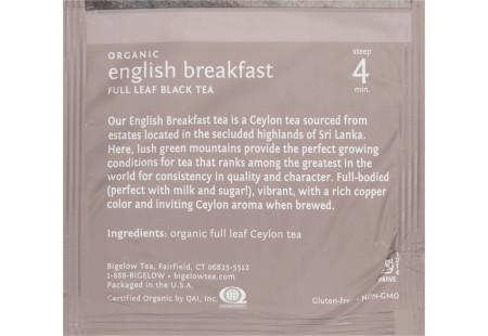 steep cafe by Bigelow organic full leaf english breakfast black tea pyramid bag in overwrap - Ingredient list