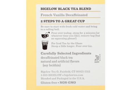 Ingredient panel of French Vanilla Black Tea Decaffeinated box - box of 20 tea bags