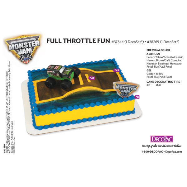 Monster Jam Full Throttle Fun Cake Decorating Instruction Card