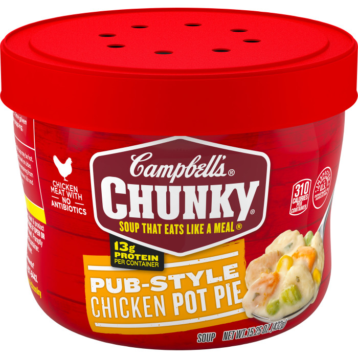 Campbell's® Chunky® Microwavable Soup, Pub-Style Chicken Pot Pie Soup, 15.25 Ounce Bowl