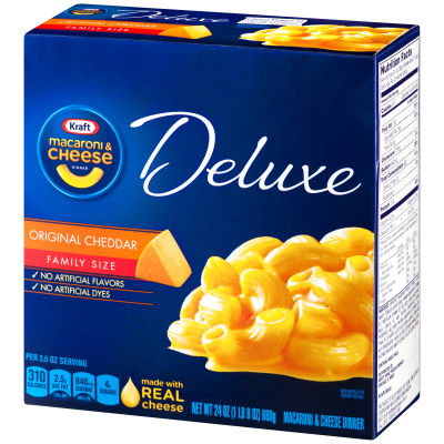 Kraft Deluxe Original Cheddar Macaroni & Cheese Dinner Family Size, 24 oz Box