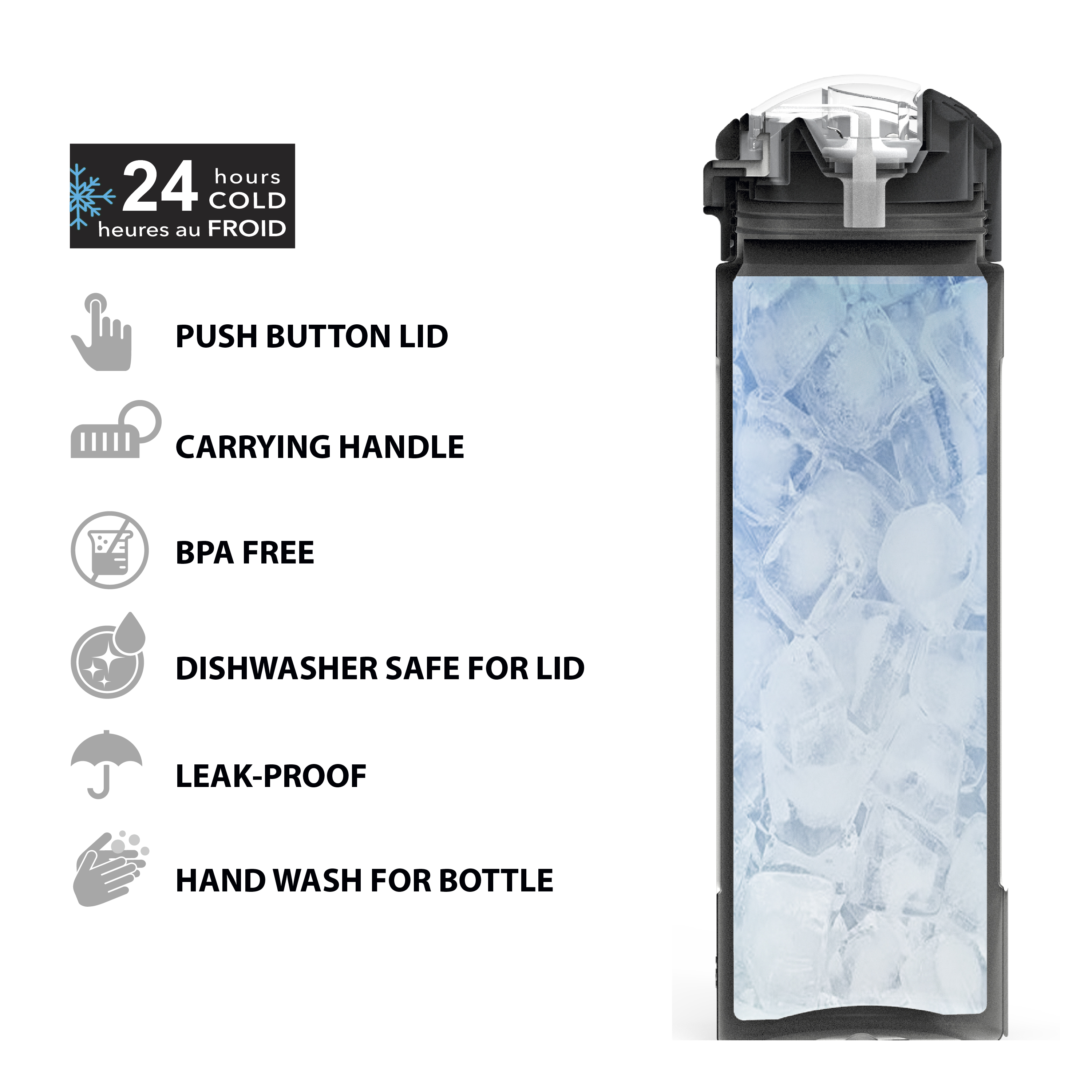 Genesis Vaccum Insulated Stainless Steel Water Bottle, Charcoal slideshow image 2