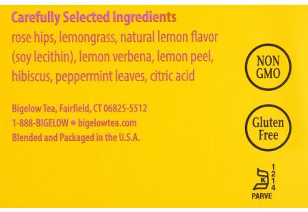 Ingredient panel of  I Love Lemon Herbal Tea Box of 28 tea bags