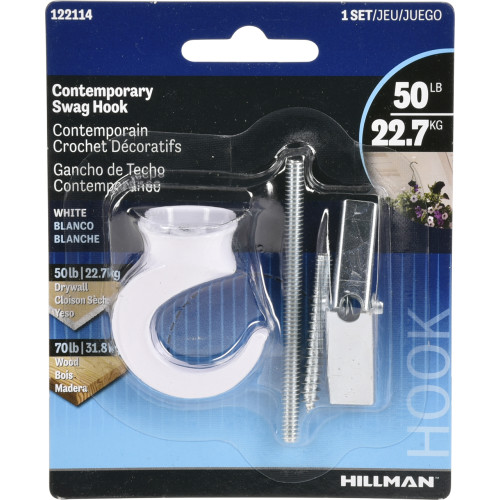 Hillman Contemporary Swag Hook White (50lb)