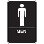 Men's Restroom Adhesive Sign with Braille