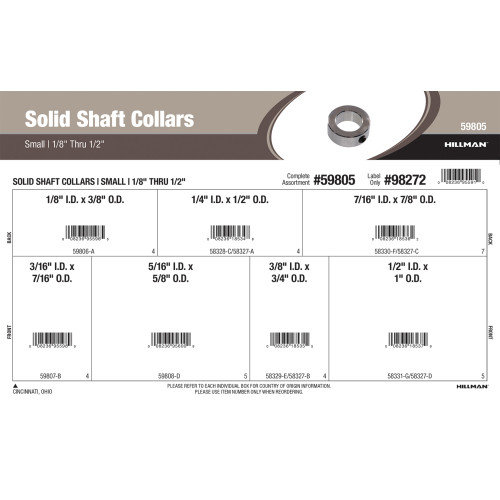 Small Solid Shaft Collars Assortment