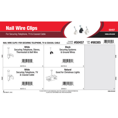 Nail Wire Clips Assortment (For Securing Telephone, TV & Coaxial Cables)
