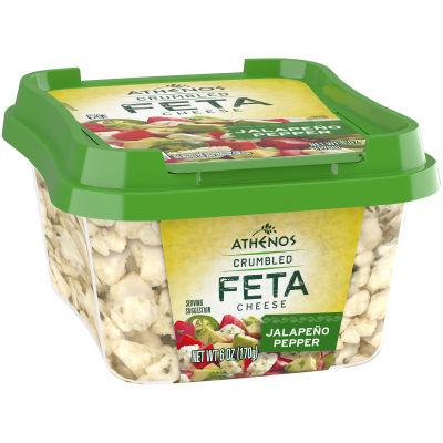 Athenos Crumbled Jalapeno Pepper Feta Cheese 6 oz Tub
