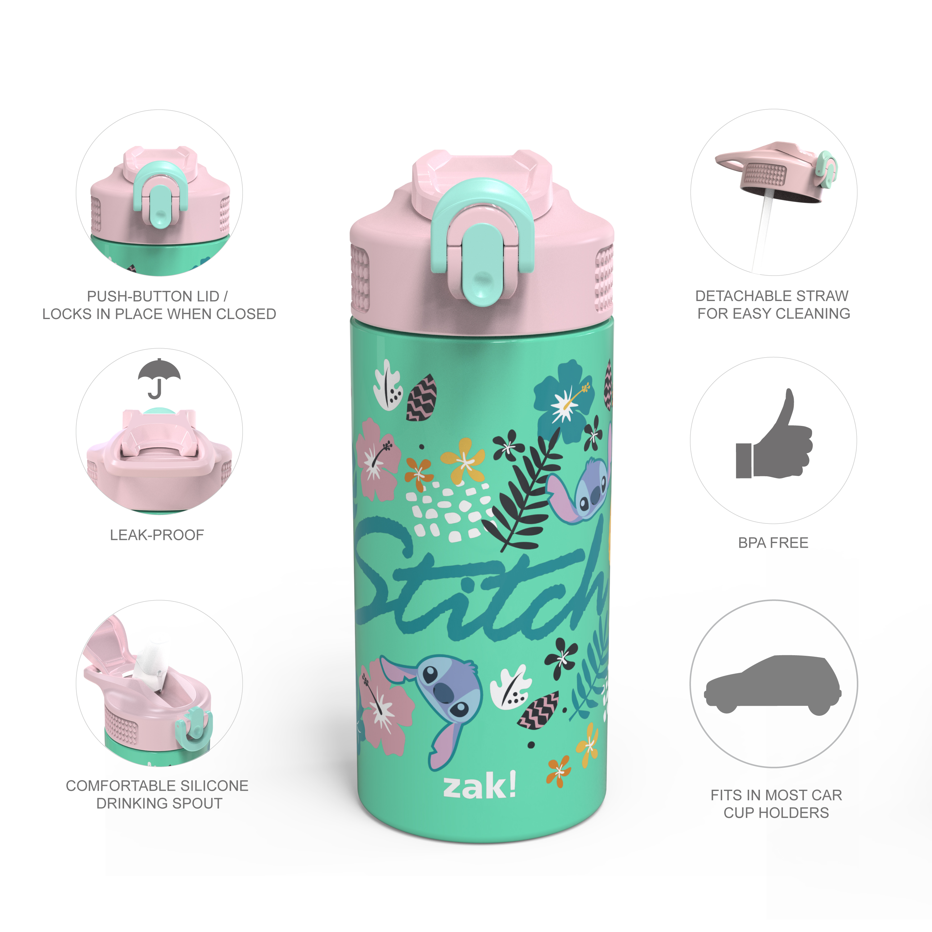 Disney 14 ounce Stainless Steel Vacuum Insulated Water Bottle, Lilo and Stitch slideshow image 9