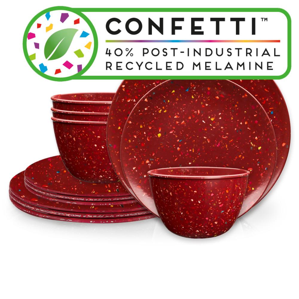 Confetti Dinnerware Set, Brick, 12-piece set slideshow image 1