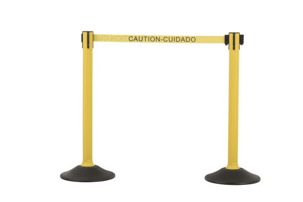 Sentry Stanchion - Yellow with 'Caution' belt 1