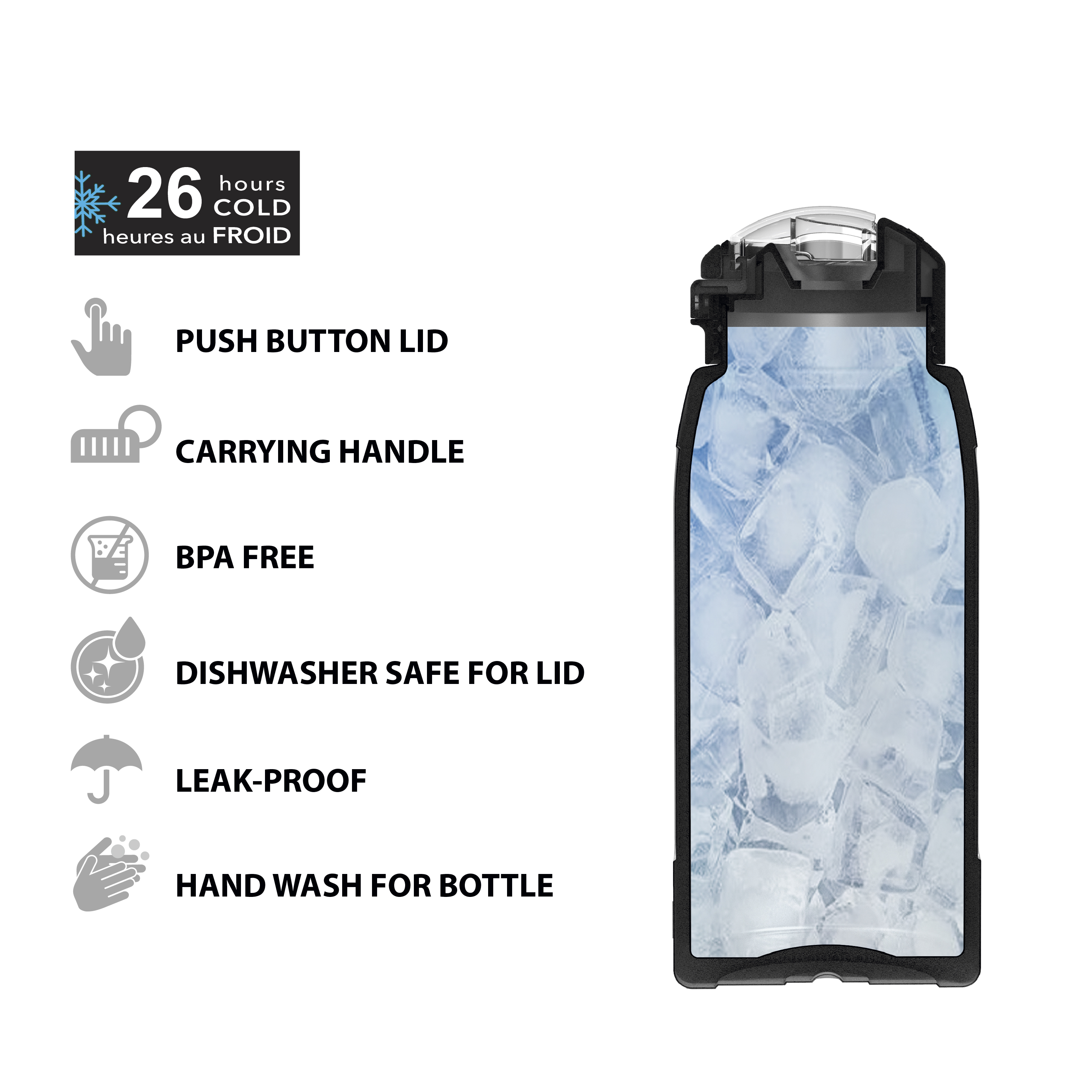 Genesis 32 ounce Stainless Steel Water Bottles, Lilac slideshow image 5