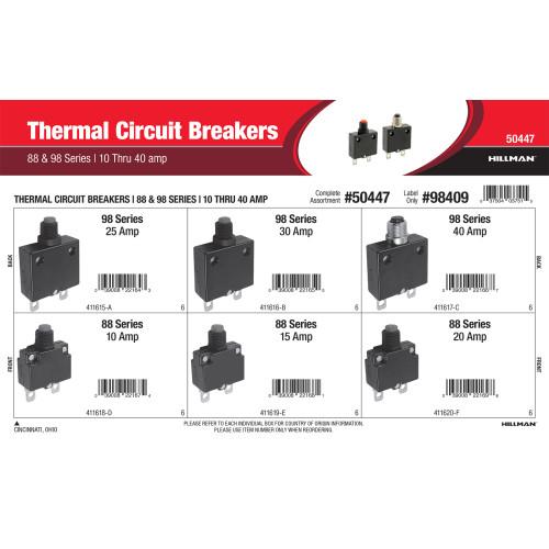 88 & 98 Series Thermal Circuit Breakers Assortment (10 thru 40 Amp)
