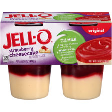 Jell-O Ready to Eat Strawberry Cheesecake Pudding Snack 14 oz Sleeve (4 Cups)