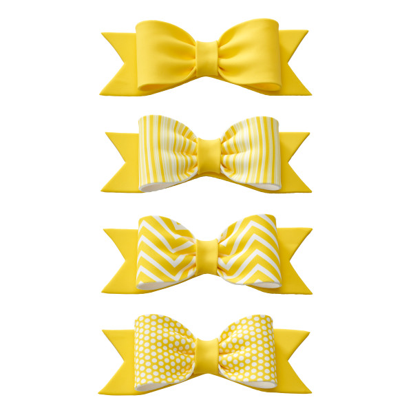 Yellow Printed and Solid Gum Paste Bows
