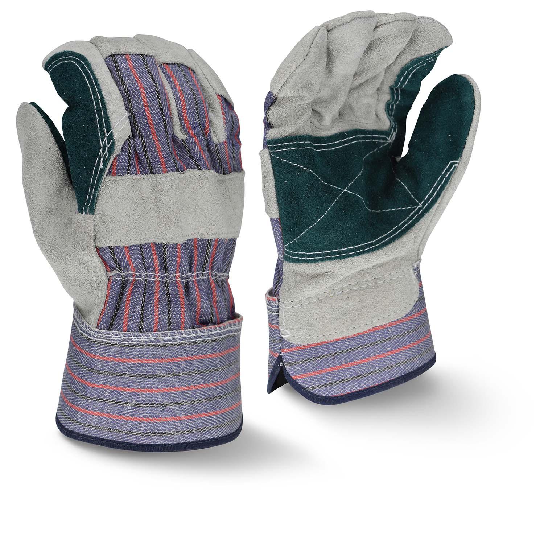 Radians RWG3200DP Regular Shoulder Gray Split Cowhide Double Leather Palm Glove