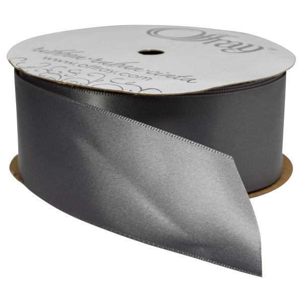 "Pewter Single-Faced Satin, 1.5"" x 50 yards Ribbon"