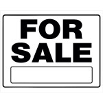 "For Sale Sign Black and White with Frame (20"" x 24"")"