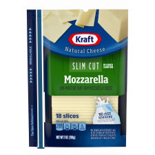 Kraft Slim Cut Mozzarella Natural Cheese Slices 18 slices - 7 oz Wrapper