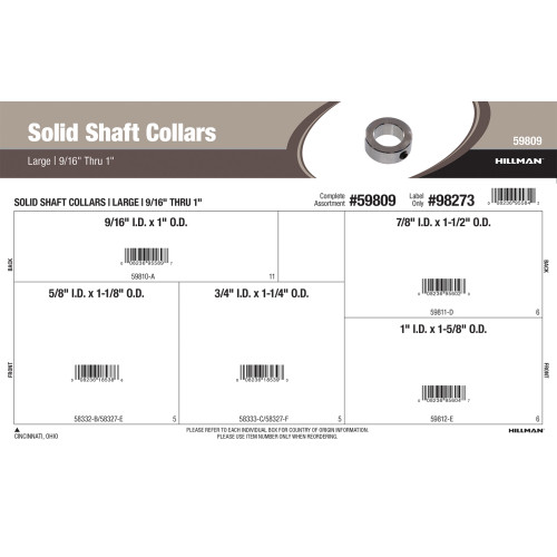 Large Solid Shaft Collars Assortment
