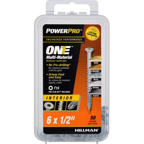 Power Pro ONE Multi-Material Screw Interior Flat Head Zinc-Plated #6 x 1/2