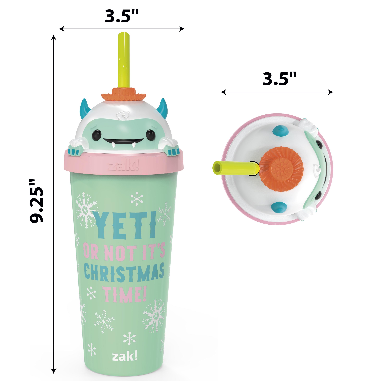 Zak Holiday 18 ounce Reusable Plastic Tumbler, Snow Buddy slideshow image 4