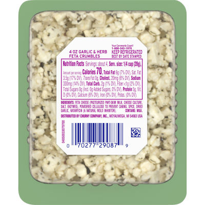 Athenos Crumbled Garlic & Herb Feta Cheese 4 oz Blister Pack