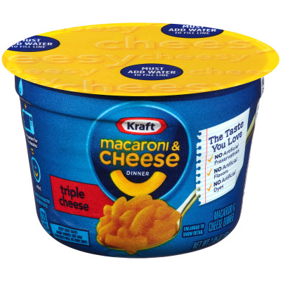 Kraft Easy Mac Macaroni & Cheese Dinner Triple Cheese Flavor 2.05 oz Microwavable Tub