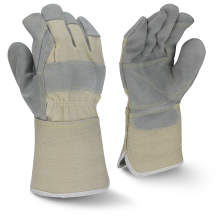 Radians RWG3400W Side Split Gray Cowhide Leather Double Palm Glove with Gauntlet Cuff
