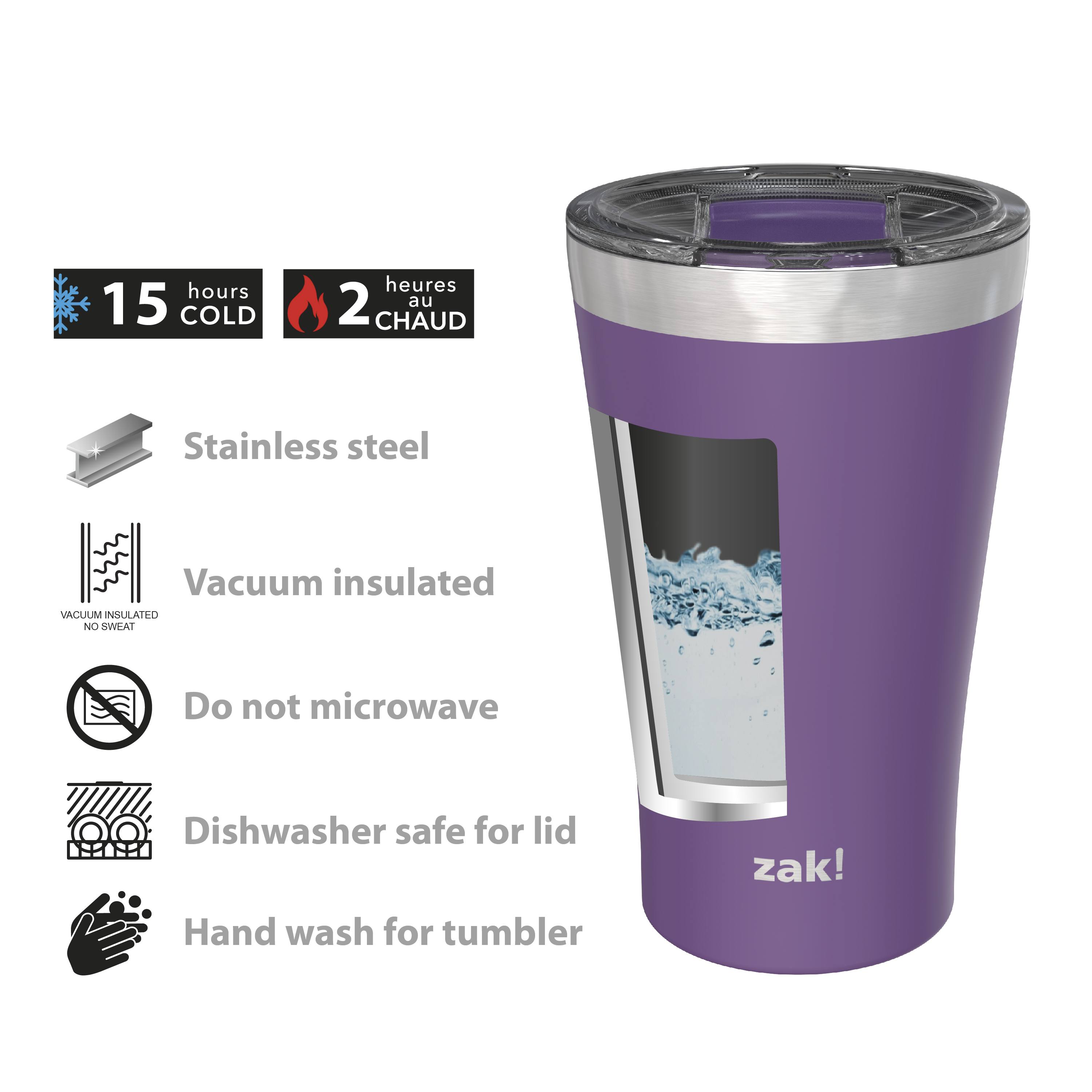Zak Hydration 20 ounce Reusable Vacuum Insulated Stainless Steel Tumbler with Straw, Viola slideshow image 5