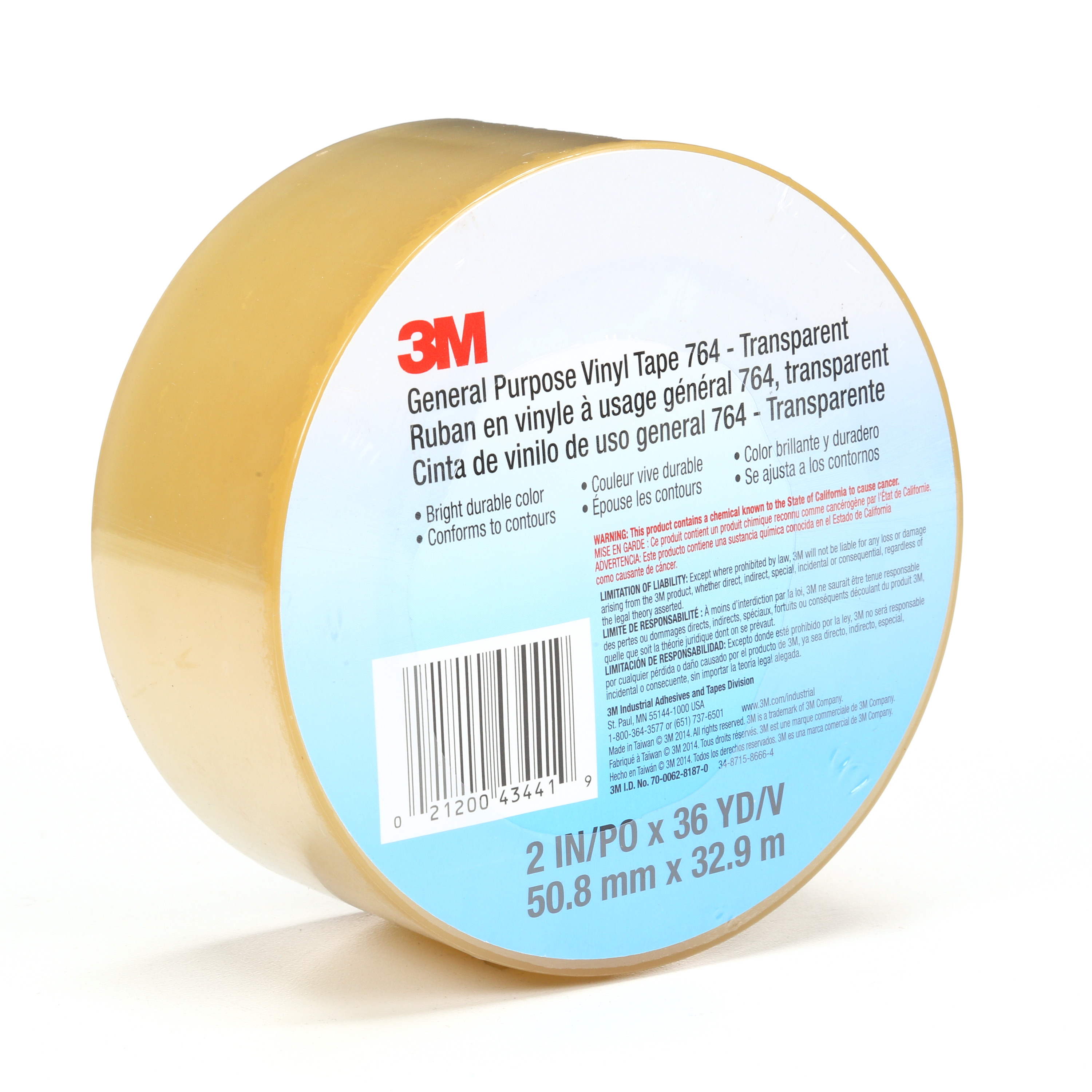 3M™ General Purpose Vinyl Tape 764, Transparent, 2 in x 36 yd, 5 mil, 24 Roll/Case, Individually Wrapped Conveniently Packaged