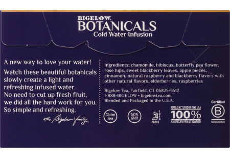 Back panel of  Bigelow Botanicals Blackberry Raspberry Hibiscus Cold Water Infusion Box