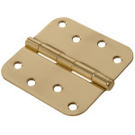 "Hardware Essentials 5/8"" Round Corner Brite Brass Door Hinges (4"")"
