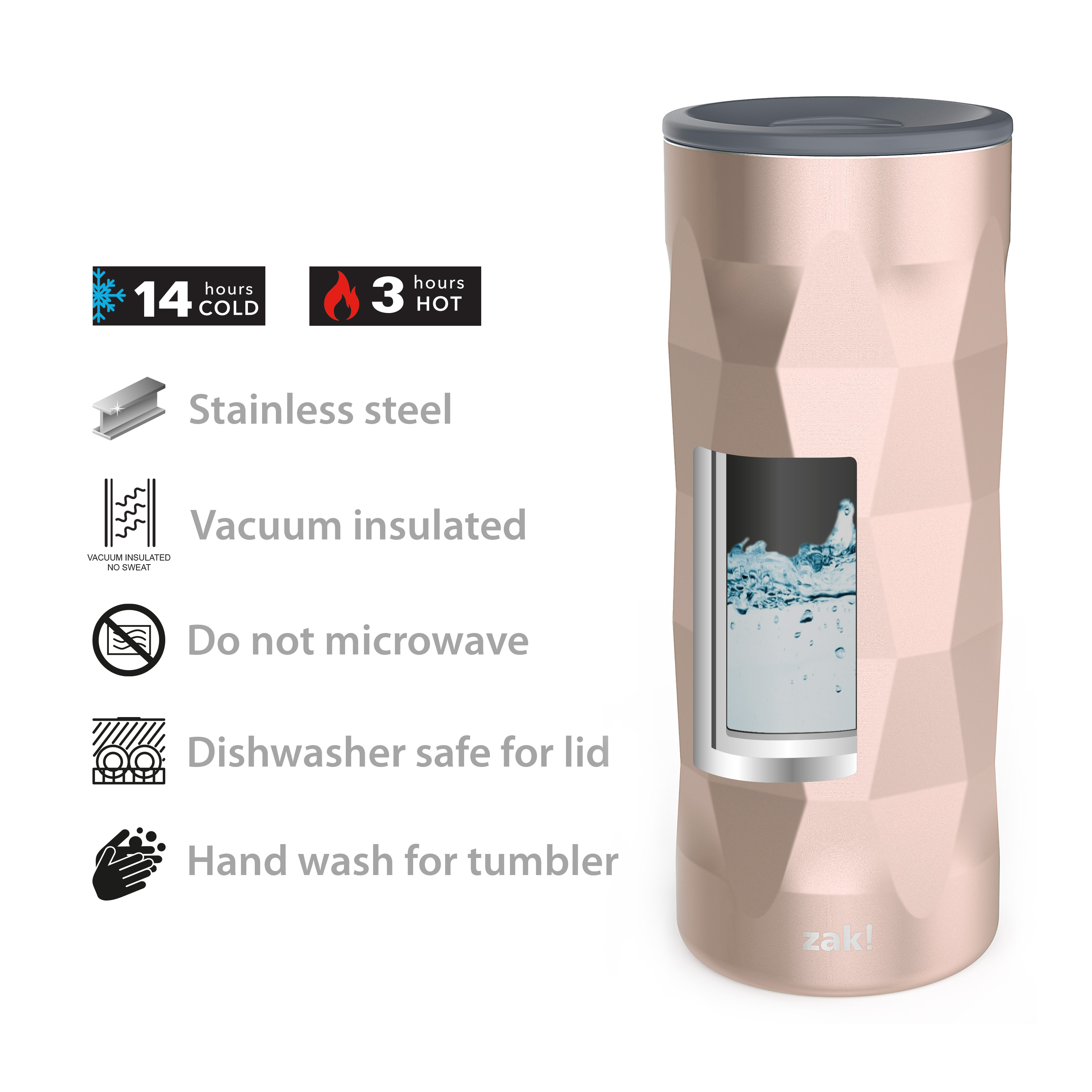 Fractal 16 ounce Vacuum Insulated Stainless Steel Tumbler, Rose Gold slideshow image 8
