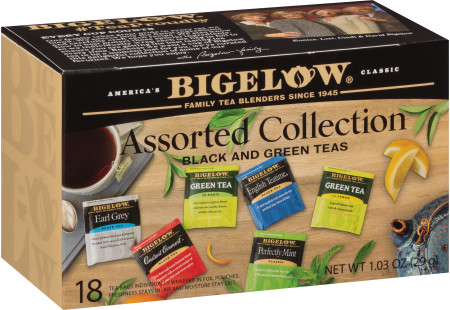 Assorted Collection Black and Green Teas - Case of 6 boxes - total of 108 teabags